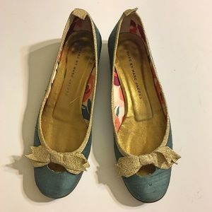 Marc by Marc Jacobs Dark Teal & Gold Bow Loafers